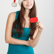 Girl in Santa hat — Stock Photo #34211935