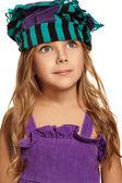 Close up portrait of girl headdress — Stock Photo