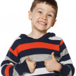 Little boy is happy and showing thumbs up — Stock Photo