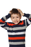 Boy clutched at his head — Stock Photo