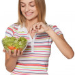 Smiling woman with salad — Stock Photo