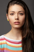 Close up portrait young woman. Emotions. — Photo