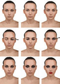 Stepping makeup. Nine steps. Smokey. — Stock Photo