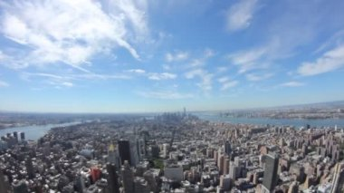 New York City view on top Empire State Building with Fisheye — Stock Video
