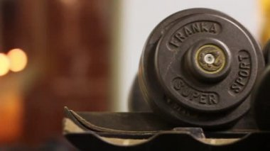 Dumbbells in Gym — Stock Video