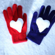Red and blue gloves — Stock Photo