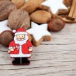 Background for christmas with Santa Claus and more — Stock Photo