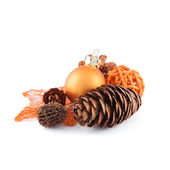 Pinecone with christmas decoration — Stock Photo