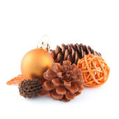 Pinecone, christmas ball and more decoration — Stock Photo