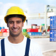 Laughing worker on a seaport — Stock Photo