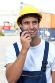 Docker on a seaport at work — Stock Photo