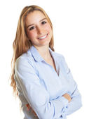 Female secretary with blond hair and crossed arms — Stock Photo