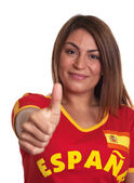 Spanish girl showing thumb up — Stock Photo