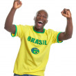 Cheering football fan from Brazil — Stock Photo #45466105