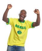 Cheering football fan from Brazil — Stock Photo