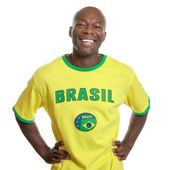 Бразильский футбольный болельщик готов к стартует — Стоковое фото