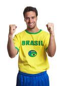 Aficionado al fútbol brasileño que anima — Foto de Stock