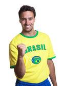 Cheering guy with brazilian jersey — Foto de Stock