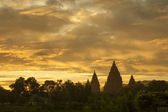 Sunrise scenic of Prambanan Temple, Indonesia — Stock Photo