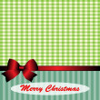 Christmas background and with green gingham and red bow — Stock Vector