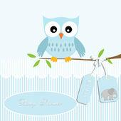婴儿淋浴卡,为男婴,猫头鹰和条纹背景与大象 — 图库矢量图片