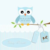 Baby shower card, for baby boy,owl and stripe background with rocking horse — Stock Vector