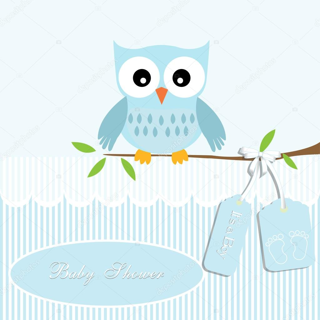 Baby Shower Card For Baby Boy Owl And Stripe Background