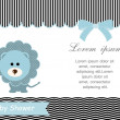 Stock Vector: Baby shower card,Blue lion and White background