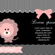 Baby shower card,pink lion and black background — Stock Vector