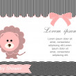 Baby shower card,pink lion and White background — Stock Vector