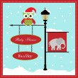 Stock Vector: Baby shower card, for baby girl, banner pole and snowy background with elephant