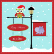 Baby shower card, for baby girl, banner pole and snowy background with hippo — Stock Vector