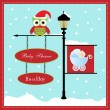 Stock Vector: Baby shower card, for baby girl, banner pole and snowy background with stroller