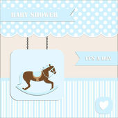 Baby shower invitation, for baby boy polka dot and stripe background with rocking horse — Stock Vector