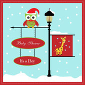 Baby shower card, for baby girl, banner pole and snowy background with giraffe — Stock Vector