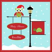Baby dusch-kort, för flicka, banner pole och snöiga bakgrund med sköldpadda — Stockvektor