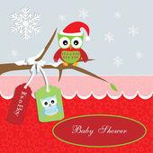 Baby douche-kaart, voor babyjongen, santa uil en sterren achtergrond met uil — Stockvector