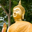 Close up gold buddha statue — Stock Photo