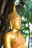 Close-up ouro estátua de buda — Fotografia Stock