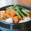Kimchi chigae, korean style soup , hot and spicy — Stock Photo