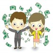 Happy winner with money flying around business couple  — Stock Vector