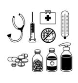 Medical equipment and medicine icon set vector — Stock Vector