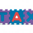 Word TAX formed with colorful foam puzzle toy isolated on white — Stock Photo