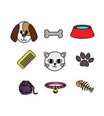 Set of cat and dog icon concept pet lover — Stock Vector