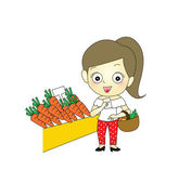 Happy young girl shopping in supermarket — Stock Vector