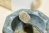 Mortar and pestle with pepper — Stock Photo