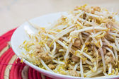 Stir fry bean sprout with mince pork — Stock Photo