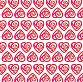 Red Heart and Rose pattern wallpaper for background — Stock Vector