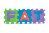Word FAT formed with colorful foam puzzle mat isolated on white background — 图库照片