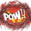 POW Comic book explosion. comic sound effect — Stock Vector